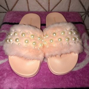 Pink slippers with pearls